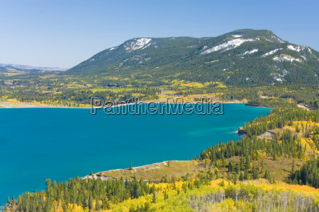 turquoise lake in fall