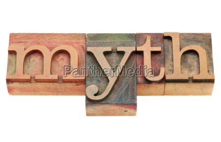 myth in letterpress type