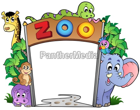 zoo entrance with various animals