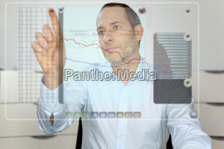 futuristic lcd panel financial content