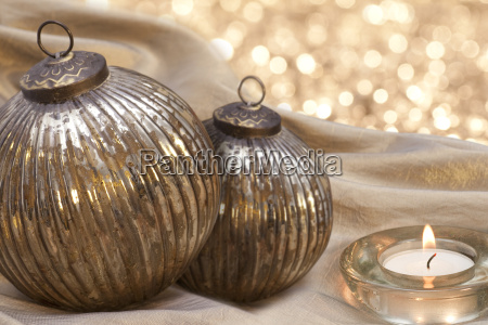 christmas ornaments with candle ligth