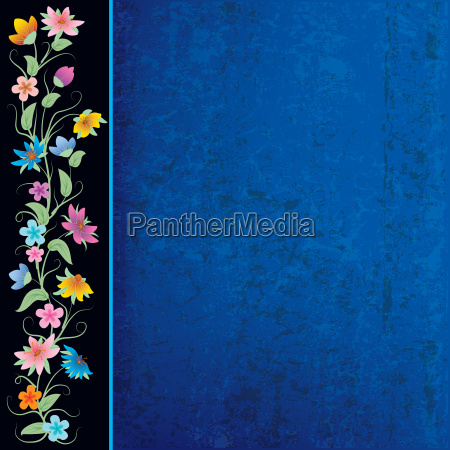 abstract blue grunge background with flowers