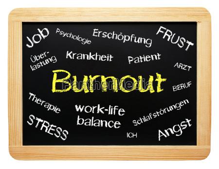 burnout konzept tafel freigestellt