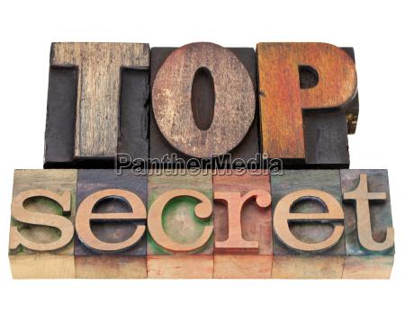 top geheimnis im buchdruck typ