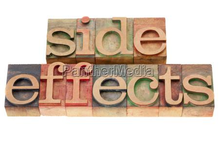 sideeffects word in letterpress type