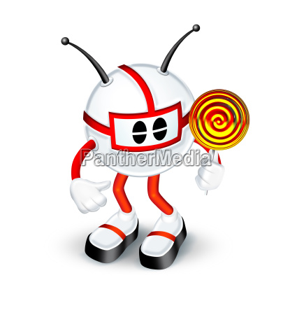 3d character with candy lollipop