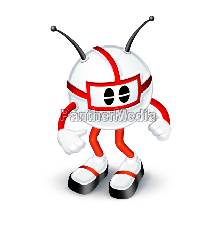 red and white 3d character