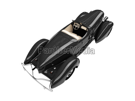 isolated retro black car back view