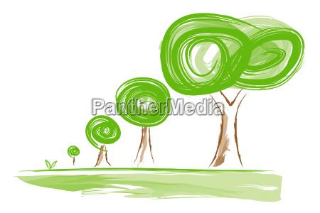 albero alberi illustrazione gemma crescita crescere