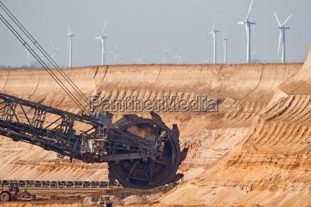 schaufelradbagger im tagebau garzweiler vor windkraftanlagen