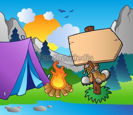 camping holzschild am seeufer