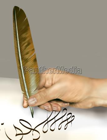 handschrift mit federfeder