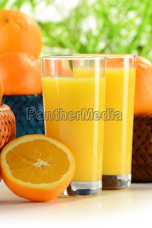 glaeser orangensaft und fruechte