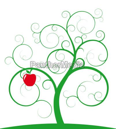 roter apfel und spiralbaum