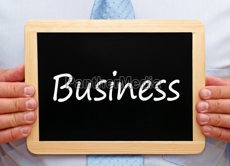 business man with blackboard