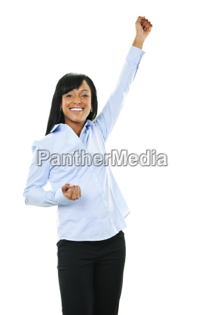 excited happy young woman with arm