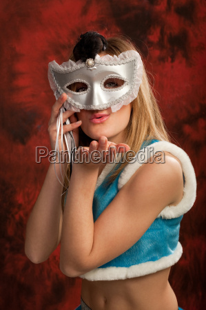 cute snowmaiden in silver mask