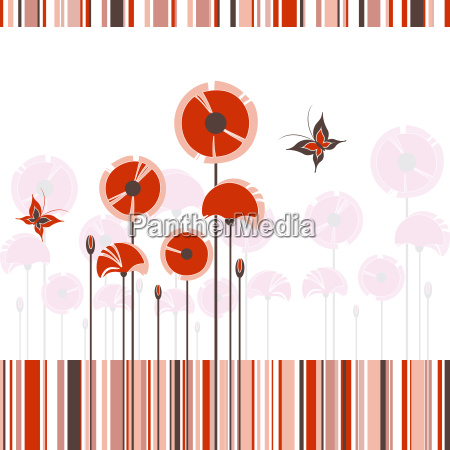 abstract red poppy on colorful stripe