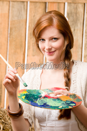 young romantic woman hold color palette