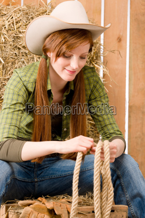 young cowgirl western country style with