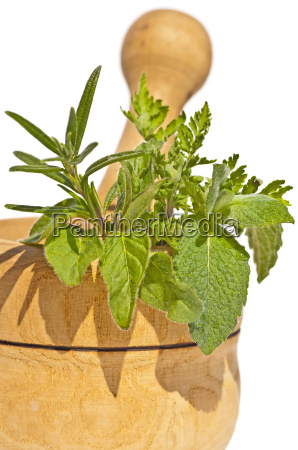 mortar with herbs