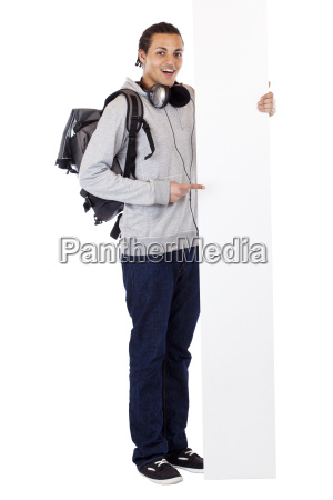 young black man enthusiastically on advertising
