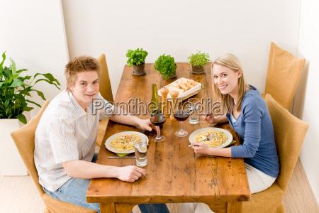 dinner romantic couple enjoy wine eat