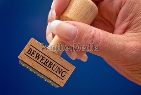 bewerbung stempel mit hand