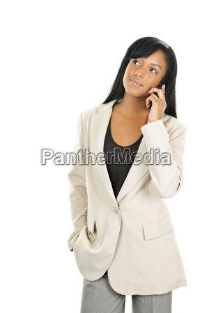 beautiful young black businesswoman on phone