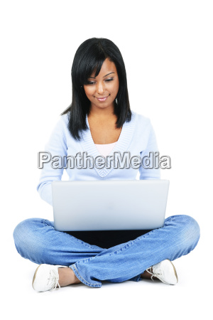 young woman with computer