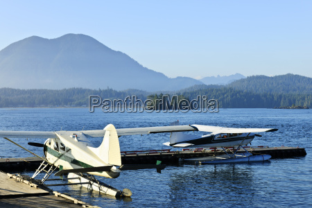 sea planes at dock in tofino