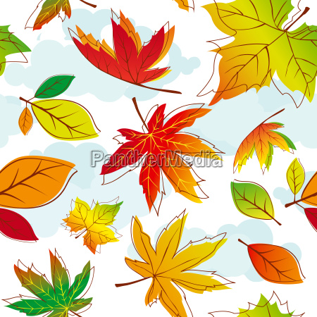 abstract colorful autumn leaves seamless pattern