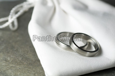 wedding rings and leather bag