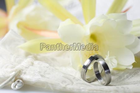 wedding rings on light background