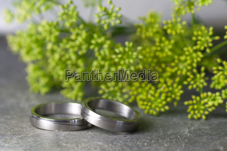 wedding rings and green flowers