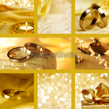 collage of gold wedding motives