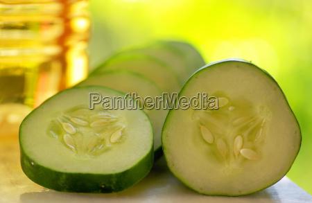 cucumber slices and vinegar