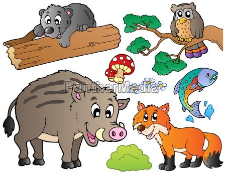 forest cartoon animals set 1