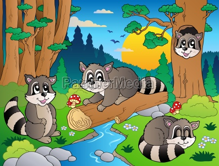 forest scene with various animals 7