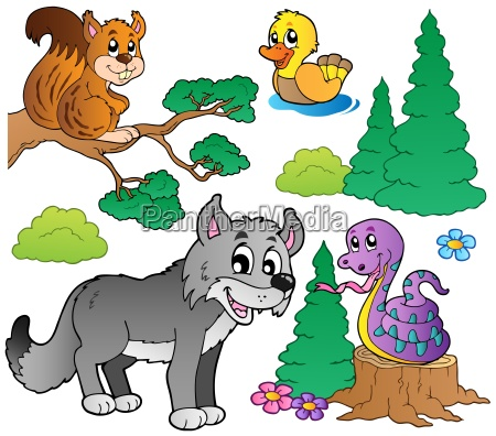 wald, cartoon, tiere, set, 2 - 5052063