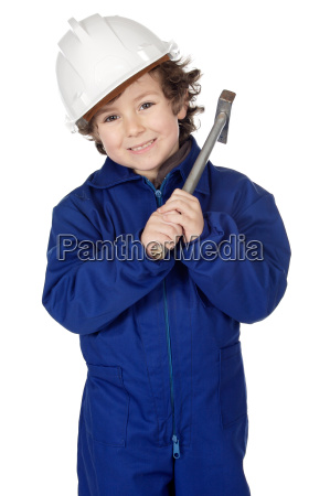 adorable boy dressed worker in a