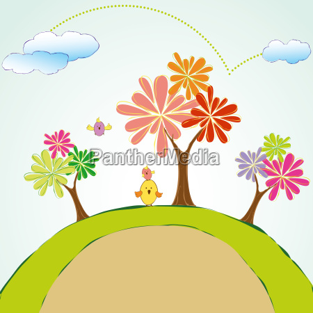 green planet tree with colorful bird