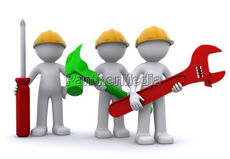team von bauarbeiter mit ausruestung