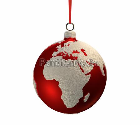 weihnachtsbirne mit kontinenten europa und