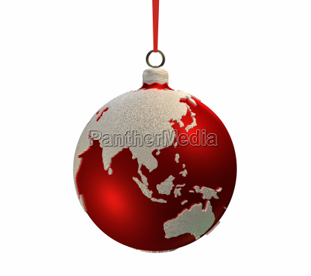 christmas bulb with continents asia