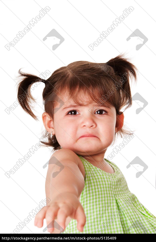 Trauriges Gesicht Des Kleinen Madchens Stockfoto 5135409