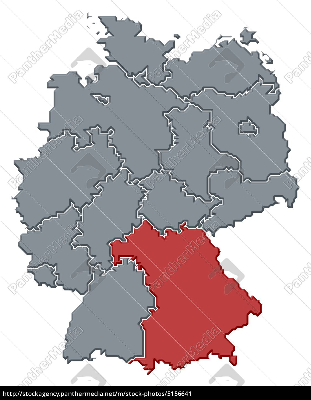 Map of Germany, Bavaria highlighted - Lizenzfreies Bild - #5156641 ...