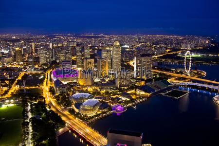 fahrt reisen stadt daemmerung singapur skyline
