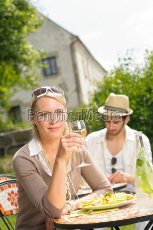 terrace sunny restaurant italian young woman