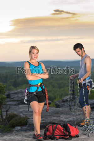 rock climbing active people on top